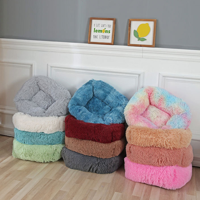 Square Pet Dog Bed Sofa Long Plush Kennel Winter Warm Soft House Puppy Mat Cat Nest Non-slip Basket Cushion for Dog Pet Supplies 2