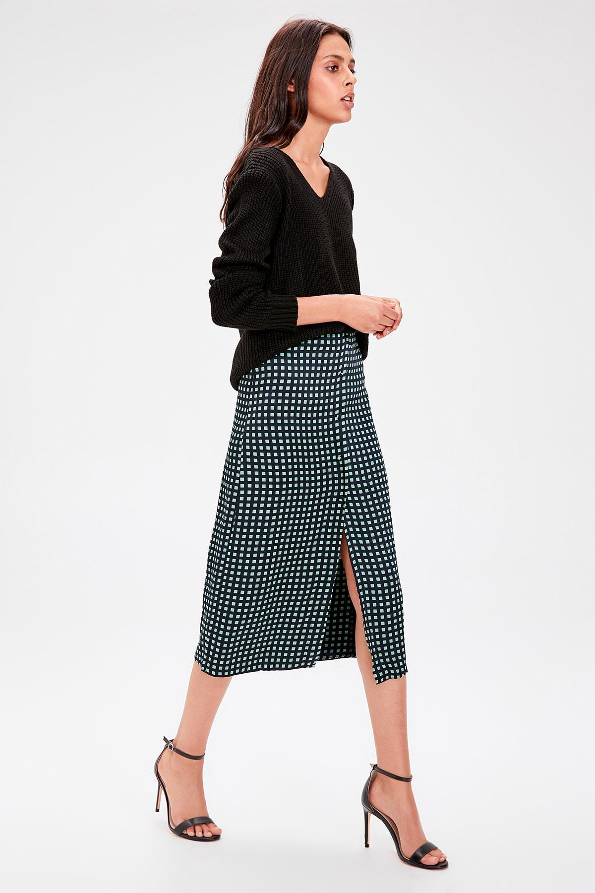 Trendyol Black Plaid Skirt TWOAW20ET0180
