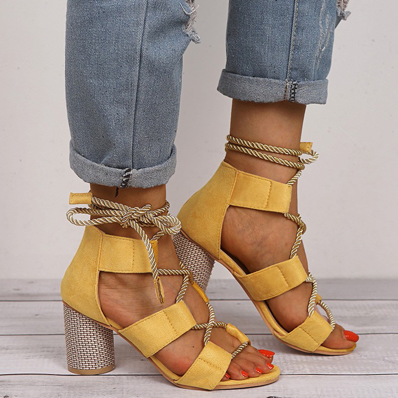 High Heels Sandals Women Open Toes Thick Heel Ladies Sandals Fashion Ankle Strap Female Sandals Summer Shoes Plus Size 35-43