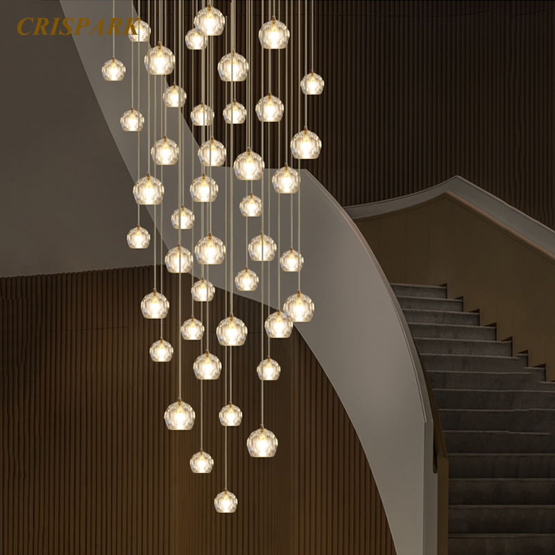 Nordic Modern Chandelier Lighting Glass Crystal Chandeliers Hanging Lamp Stairs K9 Cristal Lights Fixture For Restaurant Bedroom