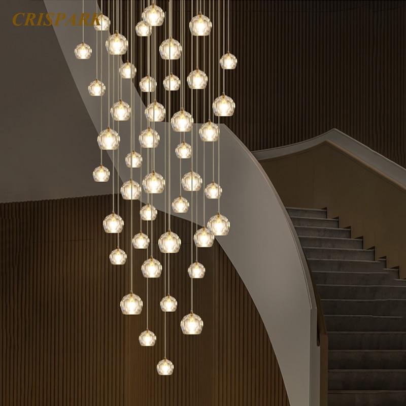 Nordic Modern Chandelier Lighting Glass Crystal Chandeliers Hanging Lamp Stairs K9 Cristal Lights Fixture For Restaurant Bedroom