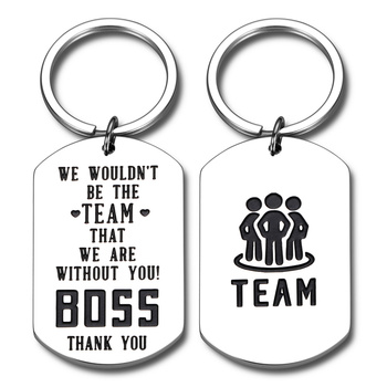 Two Sides Retirement Boss Gifts for Men Women Office Mentor Manager Supervisor Boss Leader Celebration Appreciation Keychain image