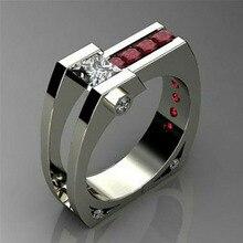 Мистическое современное кольцо с красным камнем CZ СЕРЕБРЯНАЯ, в стиле бохо цветное кольцо на палец для мужчин винтажные обручальные кольца для женщин Ювелирные изделия Подарки O4M356