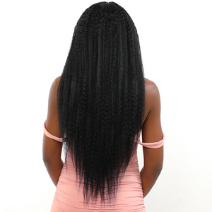 Image 5 - Natural Black Color Synthetic Hair Lace Front Wigs African American Hairstyle X TRESS Long Kinky Straight Lace Wig Middle Part