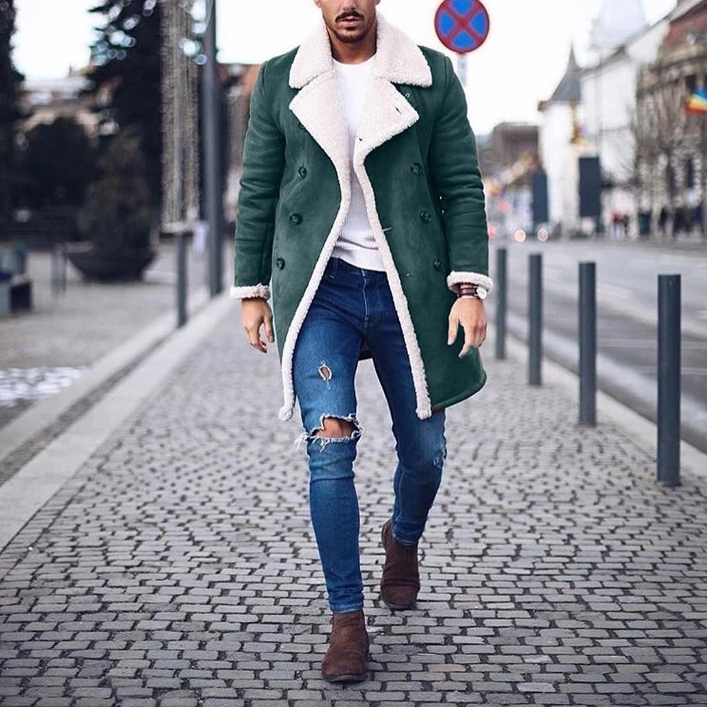 Men's Wool Trench Winter Warm Long Outwear Button Smart Overcoat Coats waterproof windproof winter jacket men
