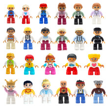 Big Building Blocks Accessories Duploe Action Figures Family Worker Doctor Princess Prince Policemen Doctor Firemen Toys Gift