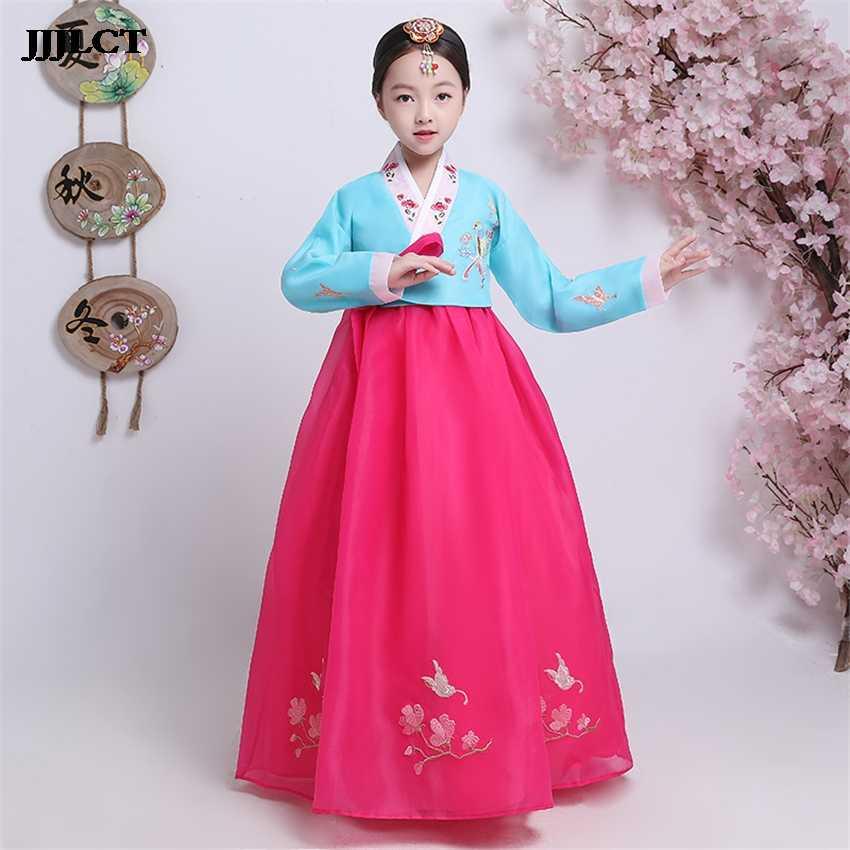 שלב ביצועים רטרו משפט שמלת קוריאני מסורתי תלבושות Hanbok הילדה רקמה ארוך שרוול תלבושות ריקוד תלבושות