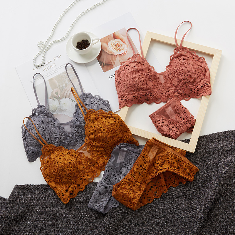 Wriufred Sexy Lace Bralette Panties No Steel Ring Soft Cup Lingerie Sets Big Chest Small Bra Set Breathable Girl Underwear
