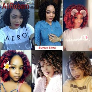 Image 5 - AliRobam Crochet Braids Short Jamaican Bounce Hair Black Wand Curl Black Woman Synthetic Braiding Hair Extensions 20 roots/pack