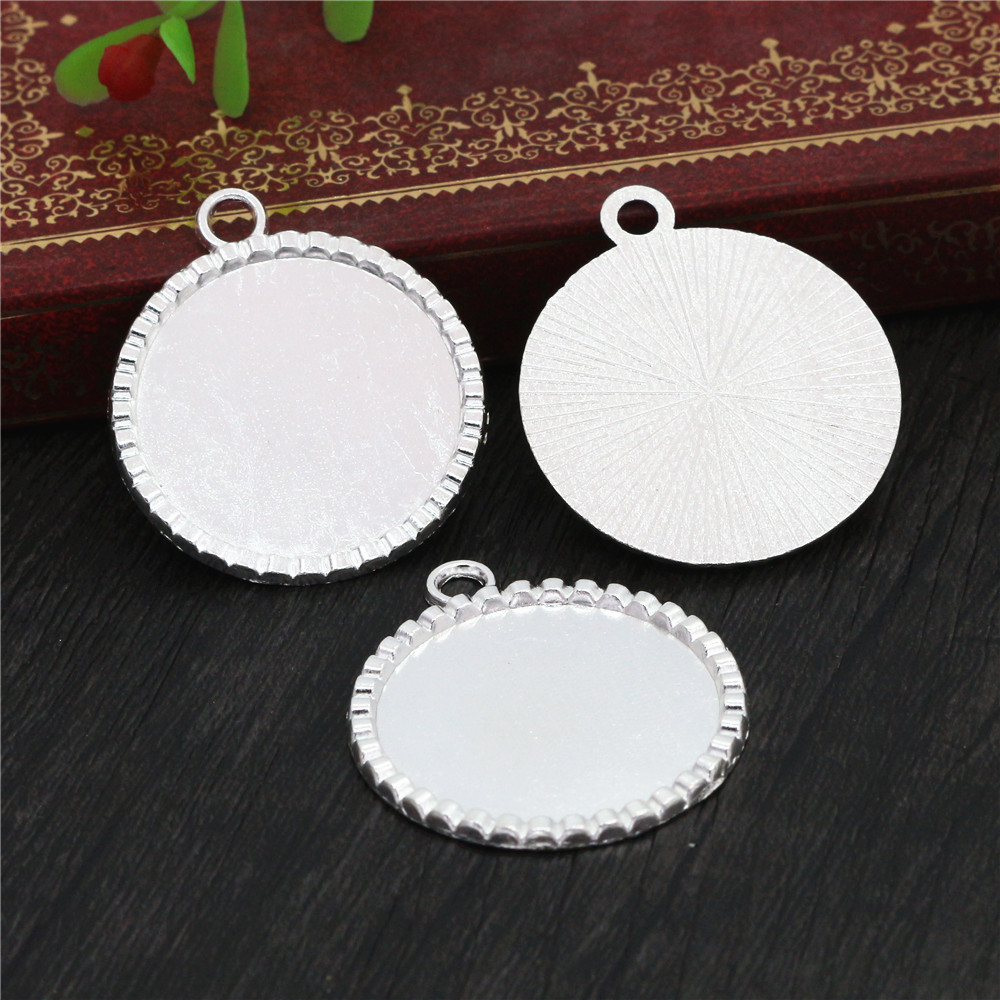 New Fashion  3pcs 25mm Inner Size Bright Silver Plated Fashion Style Cabochon Base Setting Charms Pendant (A3-47)