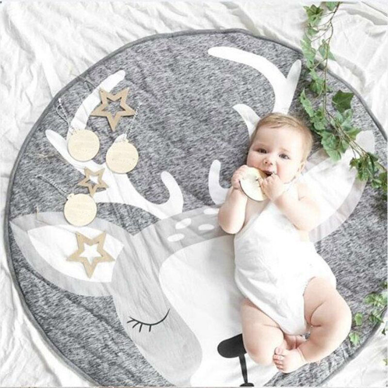 H3f45cf060b524bc3949949532b3df30fC Play Mat Baby Crawling Blanket Floor Carpet for Kids Room Mats Soft Cotton Padded Playmat Round Rugs Newborn Girl Boy Birth Gift
