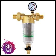 Su ön filtre sistemi 2/5 inç ve 1 inç pirinç hasır ön temizleyici W/redüktör adaptörü ve ölçer
