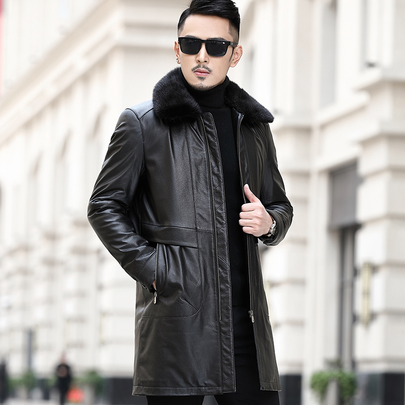 Genuine Leather Jacket Men Cow Leather Jacket Real Mink Fur Collar Duck Down Winter Coat Mens Leather Jacket MA8201NR12 YY1162