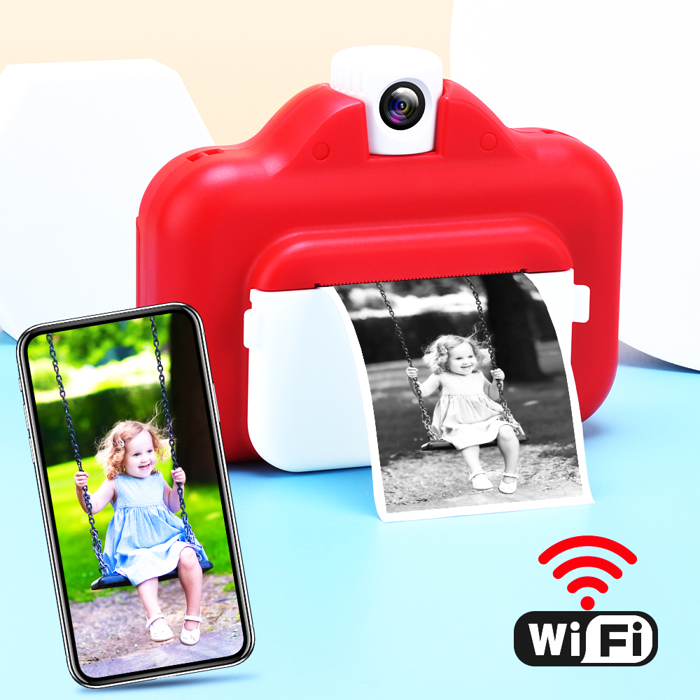 LANDZO Hot 1080P HD Kids Wifi Instant Print Camera with Thermal Photo Paper,16GB TF Card and Paint Pen Set Children Toys Gift