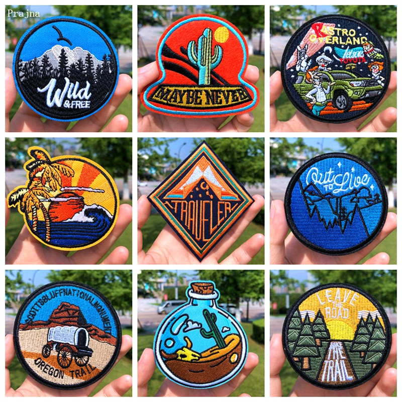 Prajna Wild Adventure Embroidered Patches For Clothing Badges Traveler Mountain Patch For T-shirt Iron On Patches On Clothes DIY