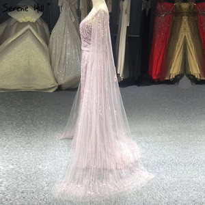 Image 5 - Dubai Pink Luxury Long Sleeves Evening Gowns 2020 Mermaid Sequins Beading Sexy Fromal Dresses Serene Hill LA70160