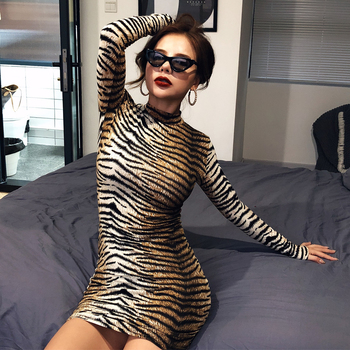 leopard print slim bodycon dress