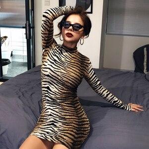 Image 4 - Hugcitar הדפס מנומר ארוך שרוול slim bodycon סקסי שמלת 2019 סתיו חורף נשים streetwear מסיבת פסטיבל שמלות תלבושות