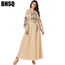 Мусульманская одежда размера плюс, мусульманское длинное платье для женщин и девочек, бандажный халат с вышивкой, Абая, турецкий Дубайский кафтан