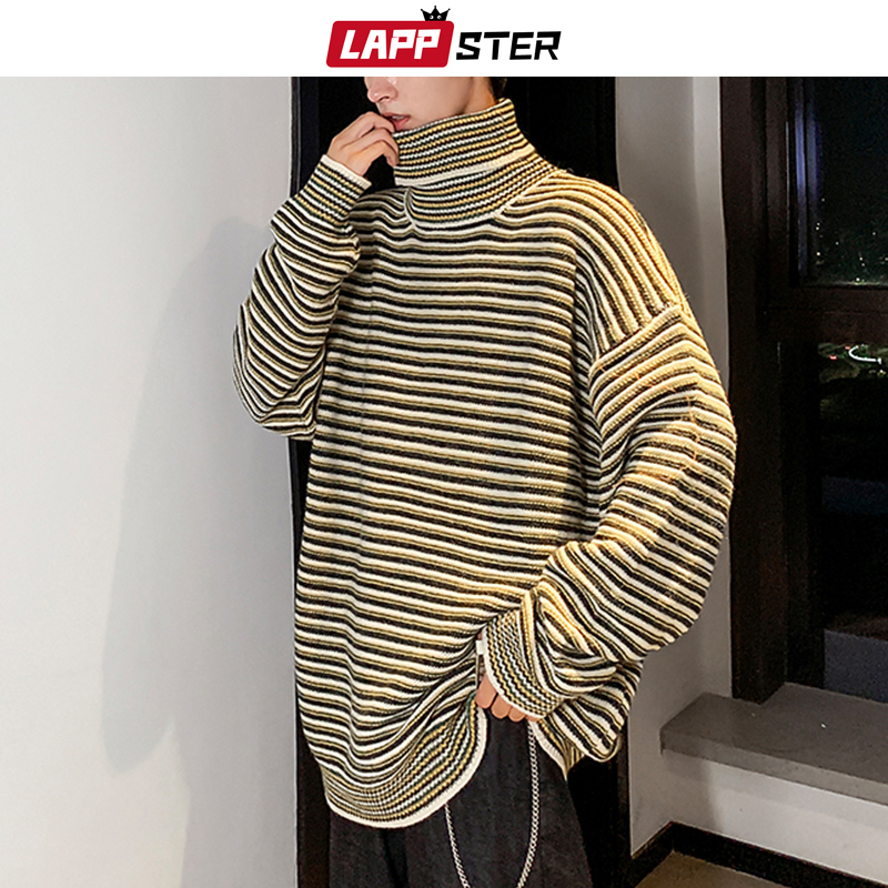 LAPPSTER Men Korean Striped Turtleneck Sweater 2019 Harajuku Couple Oversized Pullover Sweater Autumn Streetwear Vintage Clothes
