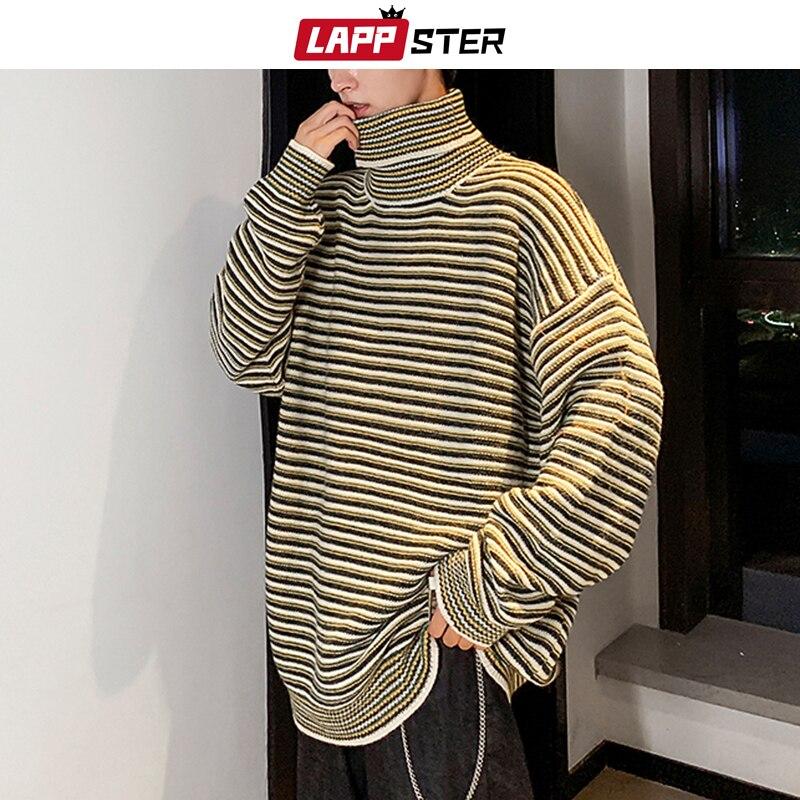 LAPPSTER Men Korean Striped Turtleneck Sweater 2020 Harajuku Couple Oversized Pullover Sweater Autumn Streetwear Vintage Clothes