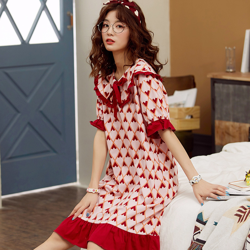 2020 New Doll Collar Loose Large Size Short-sleeved Nightdress Women's Fashion Print Bowknot Korean Nightdress Spring And Summer