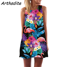 Arthsdite Bohemian Floral Print Summer Dress Women Sexy Backless Beach Boho Elegant Chiffon Short 2019