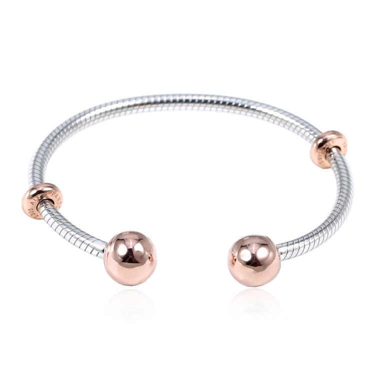 Оригинальный 925 пробы серебряный браслет золотого цвета с цепочкой в виде змеи Стиль Открытый браслет подходит для шарма из бисера Diy Модная европейская бижутерия