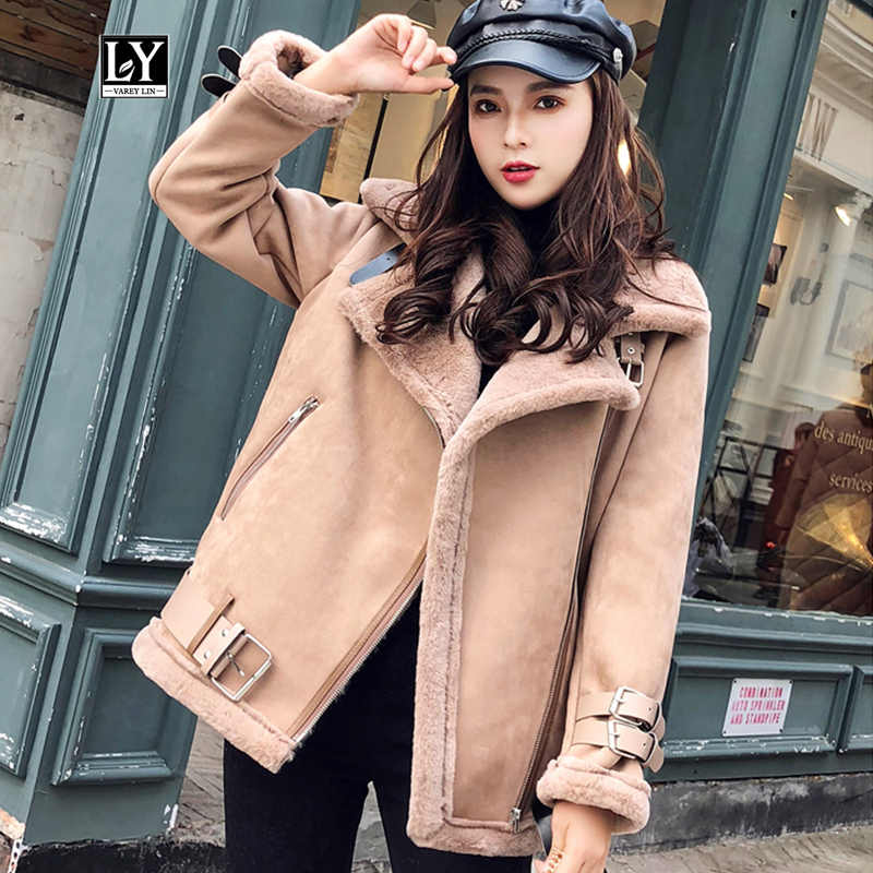 Ly Varey Lin Women Suede Jacket Fur Coat Loose Thick Warm Faux Sheepskin Coat Winter Motorcycle Zipper Faux Lambs Belts Outwear