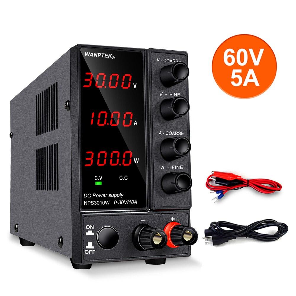 Fuente de alimentación de CC ajustable, regulador de voltaje de 30V 10A, estabilizador de Laboratorio Digital LED, conmutación de POTENCIA DE CC 60V 5A, fuente de banco