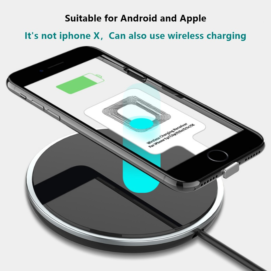 Lightweight Qi Wireless Charging Receiver For Samsung Huawei Xiaomi Universal Micro USB Type C Fast Wireless Charger Adapter