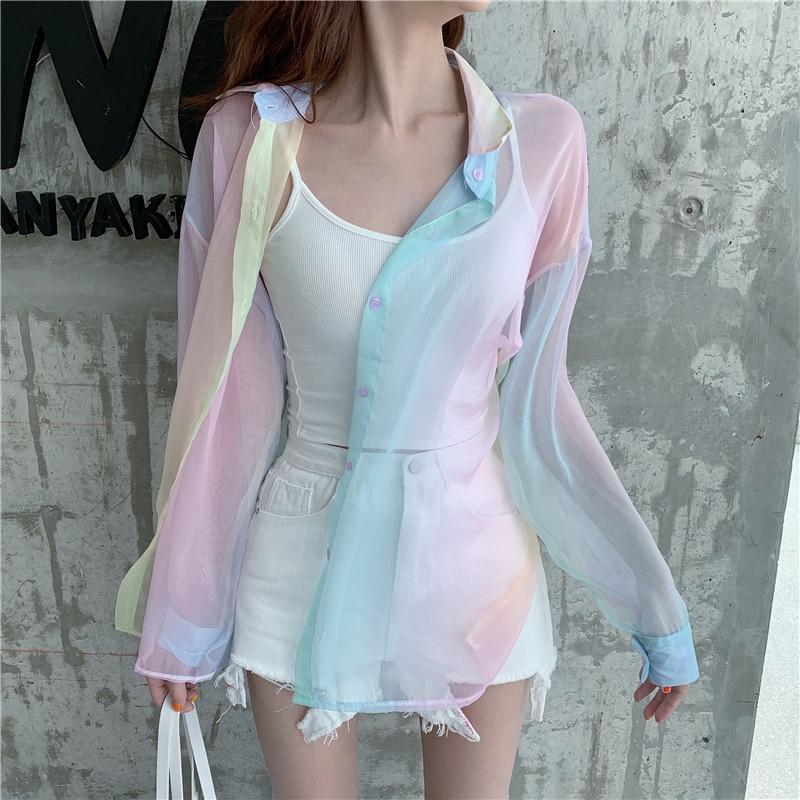 Rainbow women blouses tops shirts crop beach plus size vintage vadim ropa mujer kawaii kimono cardigan blusas kobiety bluzki(China)