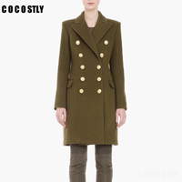 New Autumn and Winter Coat Woman Handsome Cashmere Coat Military Ladies Classic Double breasted Wool Coat Slim Woolen Overcoats