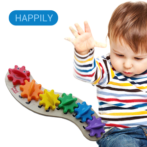 Children'S Education Wooden Gear Assembly Caterpillar Toys Assembling Blocks Colorful Sorting Color Cognitive Board Toys(China)
