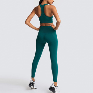 2 шт./компл., женские новые бесшовные комплекты для йоги, спортивные костюмы для фитнеса, дышащая мягкая спортивная одежда, леггинсы для бега, набор для тренировок, жилет + штаны Комплекты для йоги      АлиЭкспресс