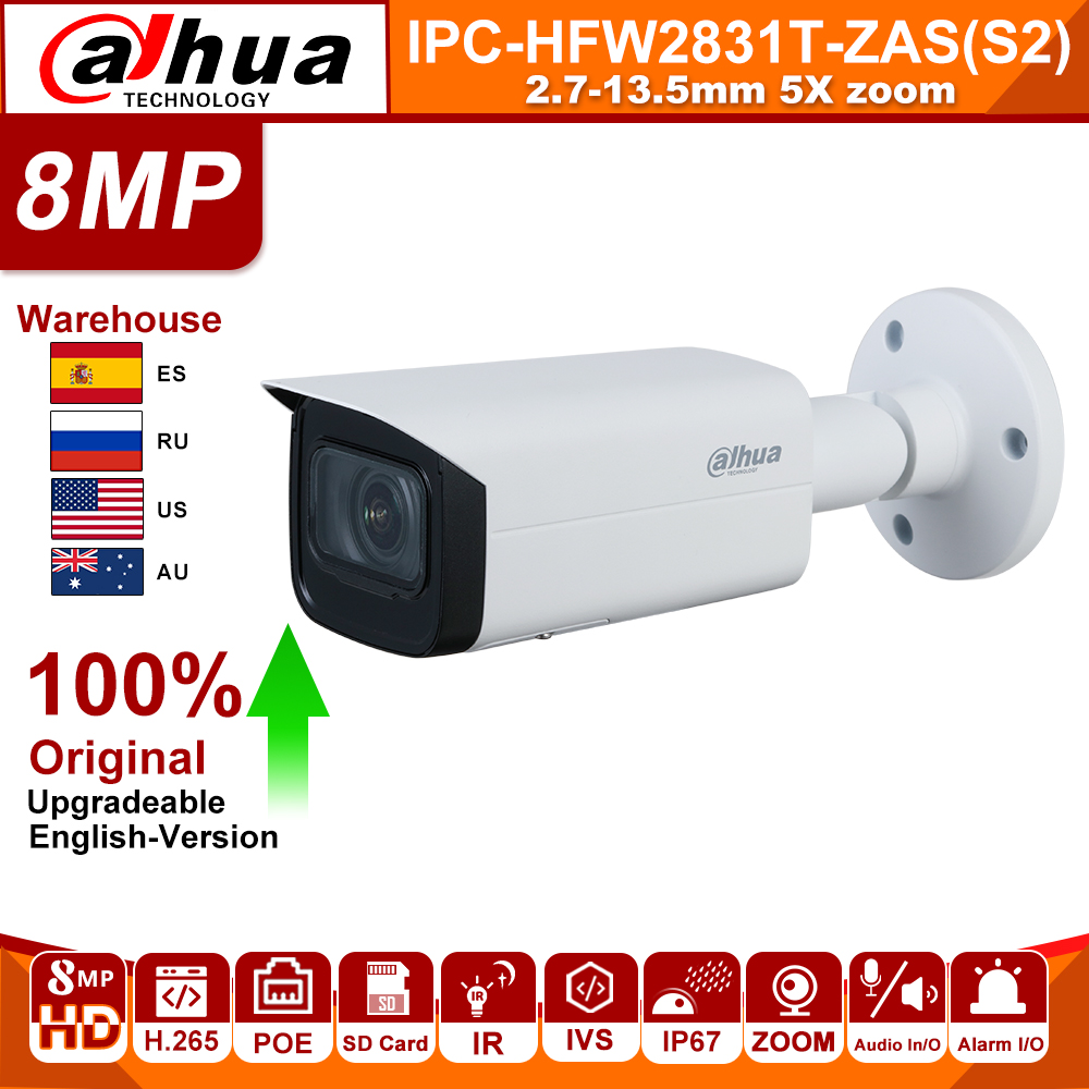 Original Dahua IP Camera 8MP IPC-HFW2831T-ZAS-S2 4K 5X Zoom Camera Starlight POE SD Card Slot Audio Alarm H.265+ 60M IR IVS