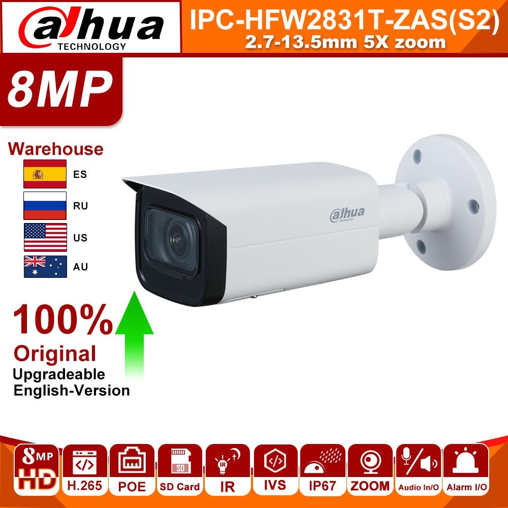 Original dahua câmera ip 8mp IPC-HFW2831T-ZAS-S2 4 k 5x zoom câmera luz das estrelas poe slot para cartão sd áudio alarme h.265 + 60 m ir ivs ip67