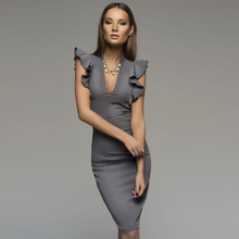 Summer dress, European and American deep V-neck lotus sleeve pencil sexy V fashionable temperament