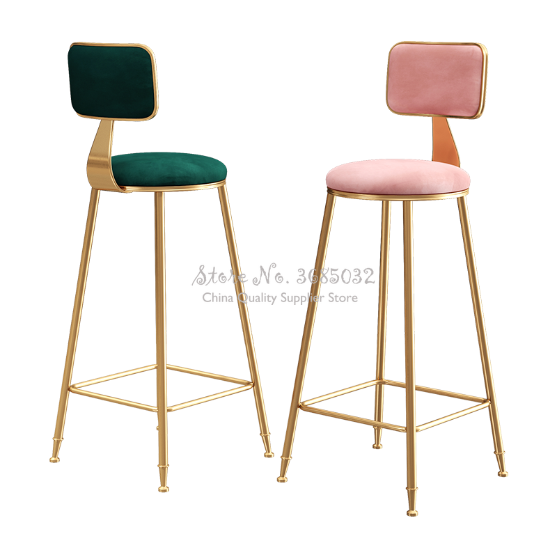 D,Creative Nordic Golden Leg Bar Stool High Iron Cafe Chair Assembled Chairs For Shop With Backrest Multicolor