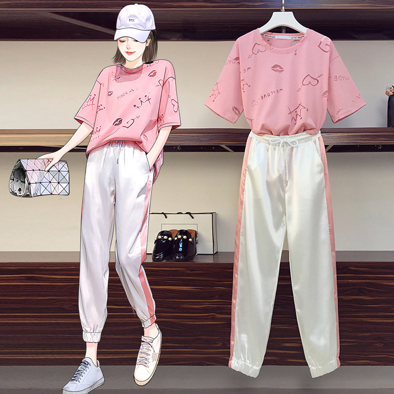 Summer Casual Sportswear Suits Women Matching Two Piece Set Fashion Short Sleeve Top And Pants Outfits Female Athleisure Clothes