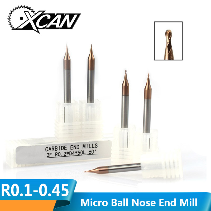 XCAN 1pc R0.1-R0.45 2 Flute Tungsten Carbide End Mill 4mm Shank TICN Coated Micro Ball Nose End Mill CNC Milling Cutter