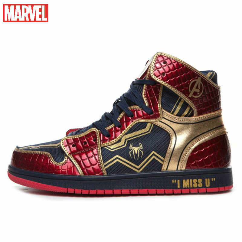 Marvel joint shoes high top men's shoes Spider-man Captain America Iron Man sneakers men's and women's shoes