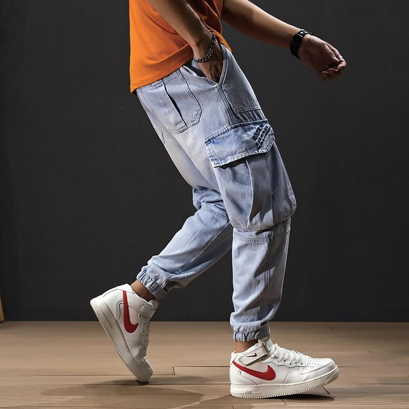 American Streetwear Fashion Men Jeans Light Blue Big Pocket Denim Cargo Pants Loose Fit Elastic Waist Hip Hop Joggers Jeans Men