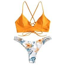 Bikini damskie 2020 Sexy kobiety Bikini pomarańczowe cięte kwiaty dwuczęściowy strój kąpielowy Pushups stroje kąpielowe kostiumy kąpielowe kostium kąpielowy na jedno ramię tanie tanio ISHOWTIENDA Floral W połowie pasa Fiszbiny Beachwear WOMEN Pasuje prawda na wymiar weź swój normalny rozmiar Poliester