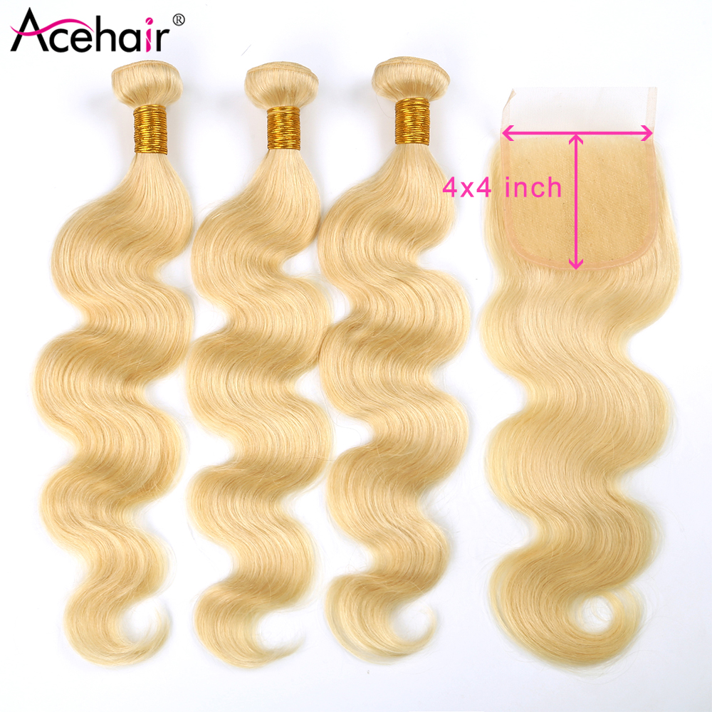 Acehair 613 Honey Blonde 3 Bundles With Closure Peruvian Body Wave 10-30inch  Remy Human Hair Weave