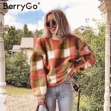 BerryGo Vintage lambswool plaid hoodies women sweat