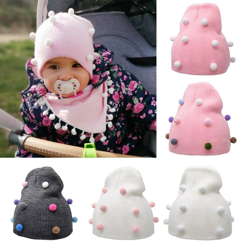 Шапка детская вязаная однотонная, на зиму/осень|Шапки и кепки|   | АлиЭкспресс