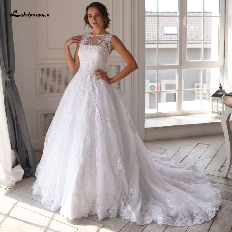 Lakshmigown Luxury White Tulle Wedding Dress Lace Beading Appliques Bridal Gowns Sexy African Wedding Dress 2020 Abito Da Sposa