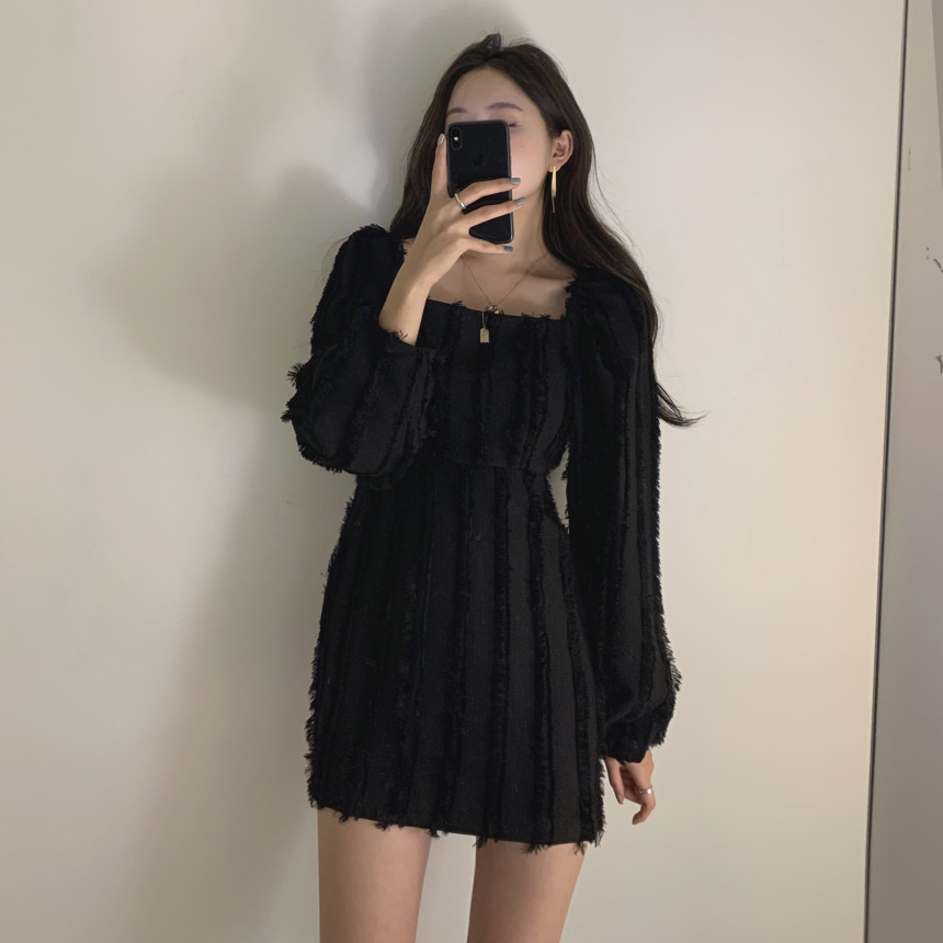 H3f476840cf334e098d6b752f208deffex - Autumn Square Collar Puff Sleeves Tassel Solid Mini Dress