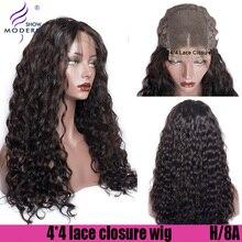 Современные шоу волосы волна воды человеческие волосы парики 4*4 кружево Закрытие бразильский высокое радио Remy Предварительно сорванные волосы парик для черных женщин